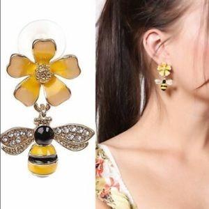 ❤️gorgeous flower &bee gold drop dangle earrings